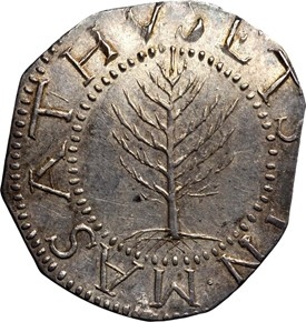 1652 NO PELS PINE TREE MASSACHUSETTS 1S MS obverse