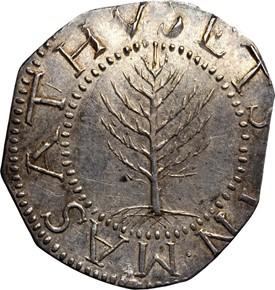 1652 NO PELS PINE TREE MASSACHUSETTS 1S MS obverse