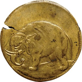 c.1694 BRASS ELEPHANT GOD PRESERVE LONDON TOKEN MS obverse