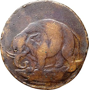 1694 'TERS' ELEPHANT GOD PRESERVE CAROLINA TOKEN M obverse