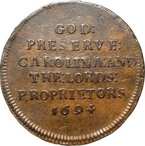 1694 O/E ELEPHANT GOD PRESERVE CAROLINA TOKEN MS reverse
