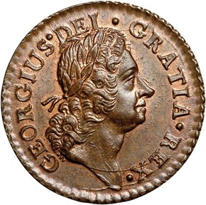 1723 'DEI GRATIA' HIBERNIA 1/4P MS obverse