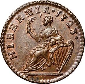 1723 'DEI GRATIA' HIBERNIA 1/4P MS reverse
