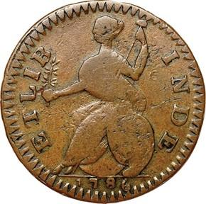 1786 'ETLIB INDE' CONNECTICUT MS reverse