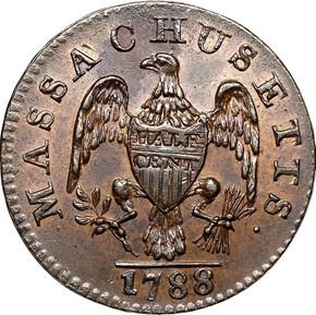 1788 MASSACHUSETTS 1/2C MS reverse