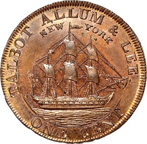 1794 L.E. 'NEW YORK' TALBOT ALLUM & LEE 1C MS reverse