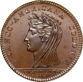 1796 COPPER RESTRIKE CASTORLAND MEDAL MS obverse