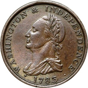 1783 BUTTON, DRAPE BUST WASHINGTON & INDEPENDENCE obverse