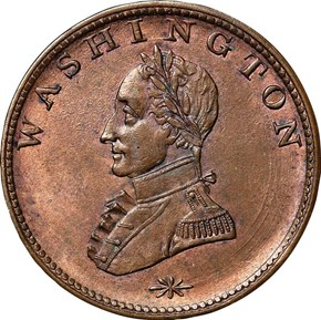 (UNDATED) WASHINGTON DOUBLE HEAD MILITARY BUST 1C MS obverse