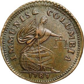 1787 IMMUNIS COLUMBIA EAGLE - PE, BROAD FLAN MS obverse