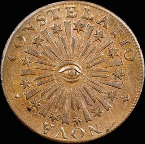 1783 SM 'US' BLUNT RAYS NOVA CONSTELLATIO MS obverse