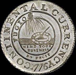 1776 PEWTER 'EG FECIT' CONTINENTAL S$1 MS obverse