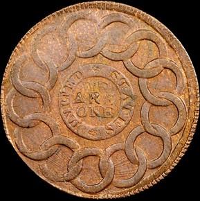 1787 4 CINQ P.R. FUGIO 'UNITED STATES' 1C MS reverse