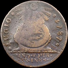 1787 1/HOR 1 P.R. FUGIO 'UNITED STATES' 1C MS obverse
