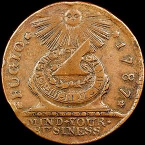 1787 4 CINQ P.R. FUGIO RAISED RIMS 1C MS obverse
