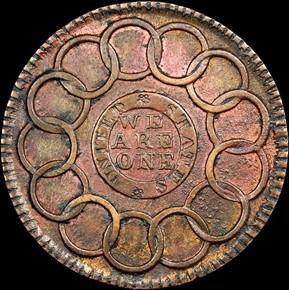 1787 COPPER FUGIO NEW HAVEN RESTRIKE 1C MS reverse