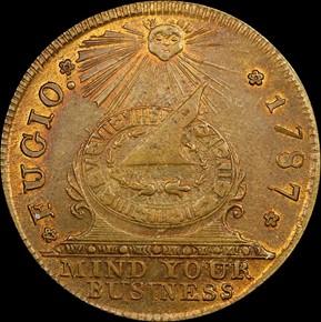 1787 BRASS FUGIO NEW HAVEN RESTRIKE 1C MS obverse