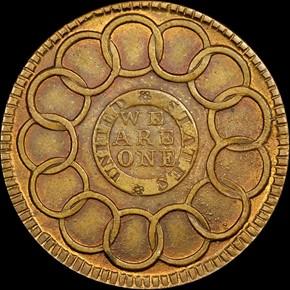 1787 BRASS FUGIO NEW HAVEN RESTRIKE 1C MS reverse