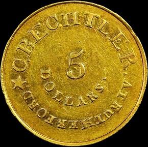 (1834-37) C.BECHTLER 140G, 20C, RUTHERFORD $5 MS reverse
