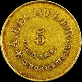 (1842-50) A.BECHTLER 134G, 21C $5 MS reverse