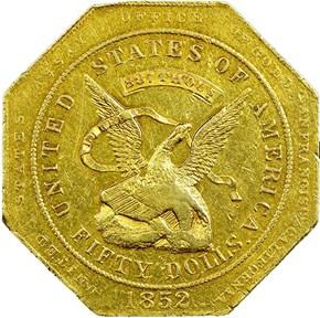 "1852 ""887"" U.S. ASSAY OFFICE $50 MS obverse"