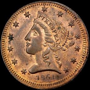 1861 COPPER CLARK, GRUBER & CO. K-10c $5 MS obverse
