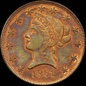 1861 COPPER CLARK, GRUBER & CO. K-11b $10 MS obverse