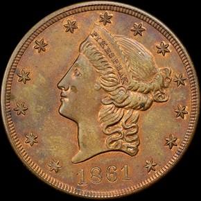 1861 COPPER CLARK, GRUBER K-12c $20 MS obverse