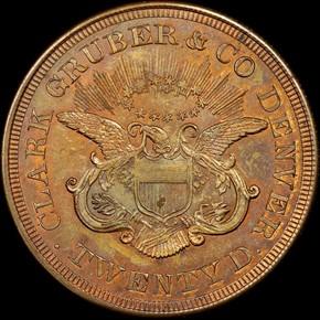 1861 COPPER CLARK, GRUBER K-12c $20 MS reverse