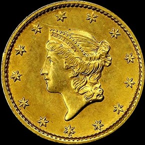 1849 SMALL HEAD NO L G$1 MS obverse