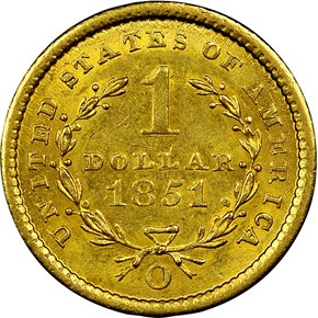 1851 O G$1 MS reverse