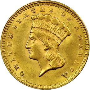 1857 G$1 MS obverse