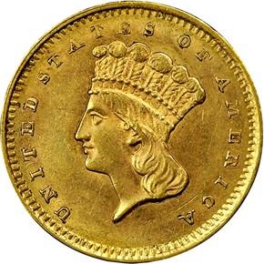 1858 G$1 MS obverse