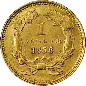 1858 G$1 MS reverse