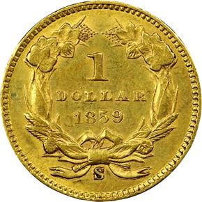 1859 S G$1 MS reverse