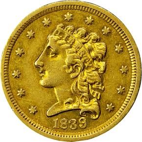 1839 $2.5 MS obverse
