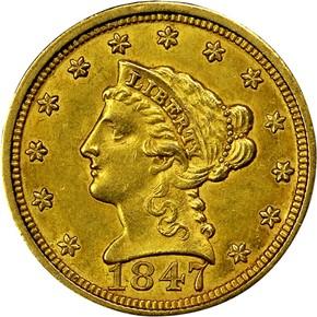 1847 $2.5 MS obverse