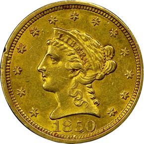 1850 $2.5 MS obverse