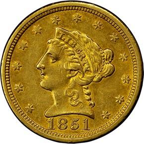 1851 O $2.5 MS obverse