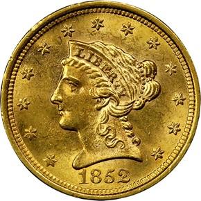 1852 $2.5 MS obverse