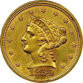 1854 $2.5 MS obverse