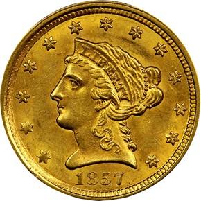 1857 $2.5 MS obverse