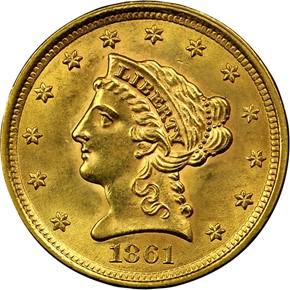 1861 $2.5 MS obverse