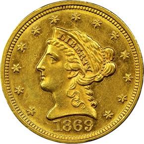 1869 $2.5 MS obverse