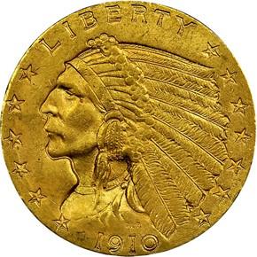 1910 $2.5 MS obverse
