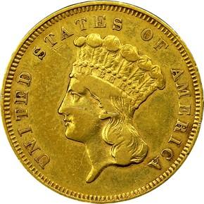 1855 S $3 MS obverse