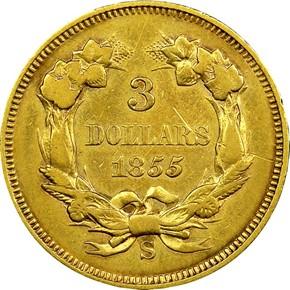 1855 S $3 MS reverse