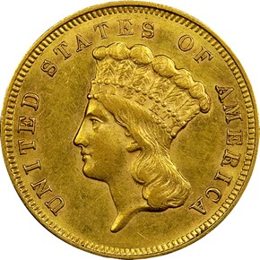 1857 S $3 MS obverse
