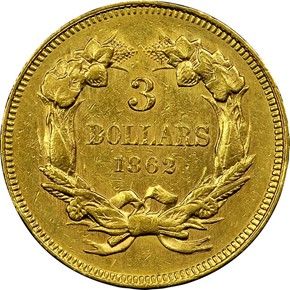 1862 $3 MS reverse