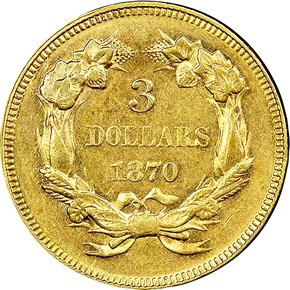 1870 $3 MS reverse